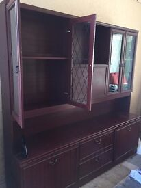 Mahogany effect matching display cabinets. Free to collect.
