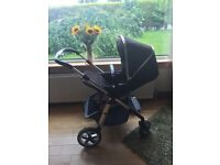 Silver Cross pioneer pram / buggy / carseat / three way travel system black and crome