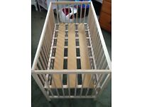WOODEN COT AND MATTRESS , EXCELLENT CONDITION 5 MONTHS OLD