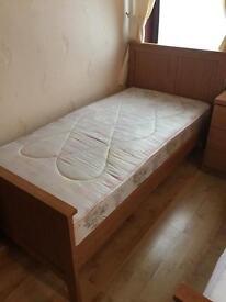 Oak Benson Single Bed with Mattress
