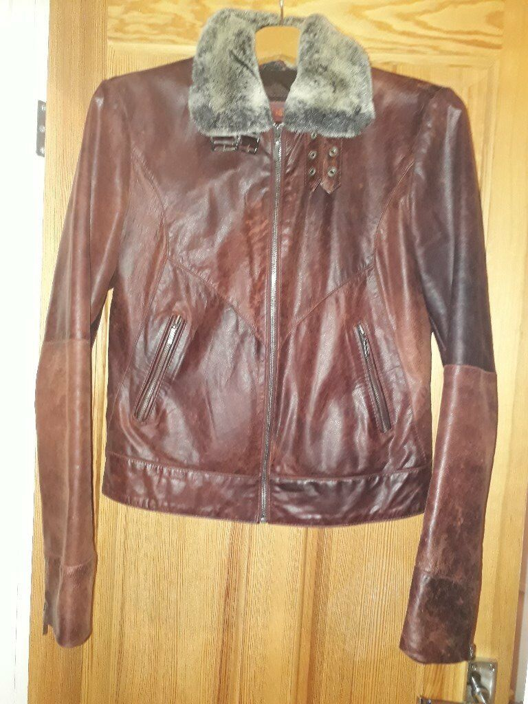 Ladies chestnut colured leather jacket, small size 10/12