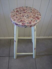 Kitchen stool.Shabby chic with decoupaged top. Pale green shade. Really pretty.