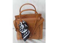 Ladies Tan Leather Style Large Shoulder, Tote, Handbag New.