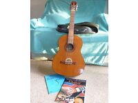 Acoustic Guitar 1 metre length with plastic soft case plus beginners book and CD
