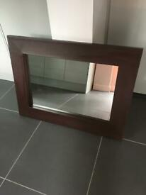 Brown leather faux leather mirror