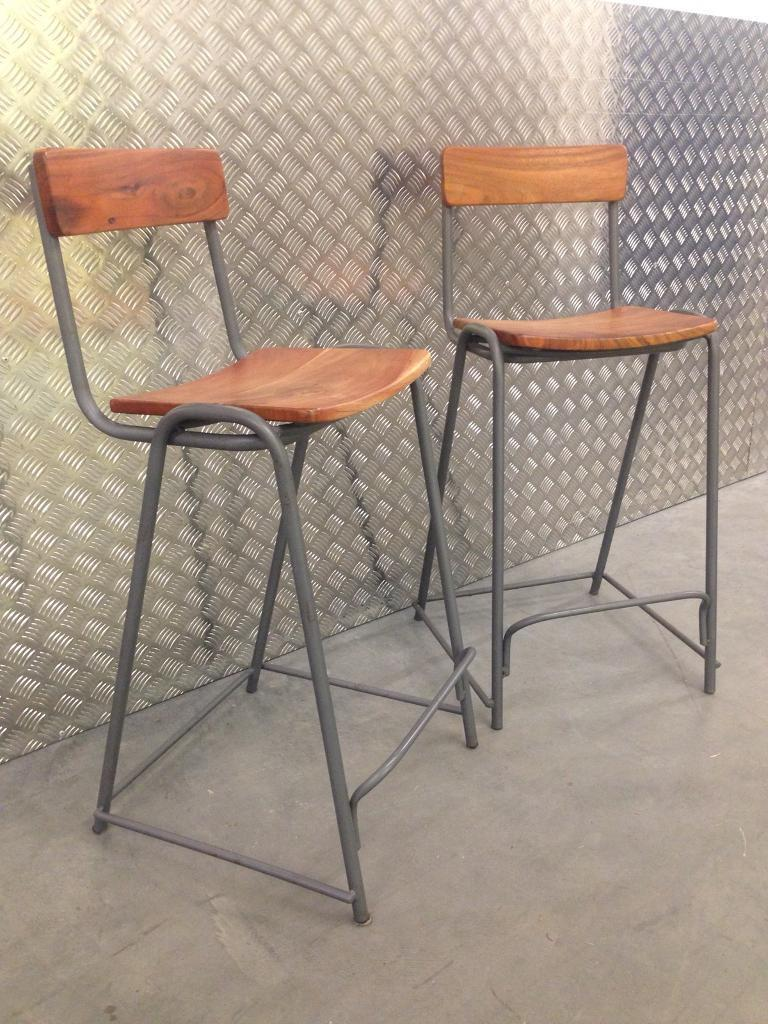 Pair graham green rustic industrial kitchen bar stools chairs seats laura ashley habitat loaf oka