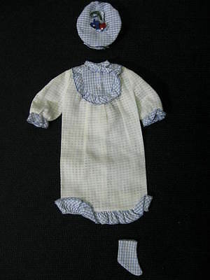 "Vintage 1965 FRANCIE ""Tuckered Out "" #1253 White Gingham Pajama, Hat & 1 Bootie"