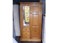 CAN DELIVER - FARMHOUSE SOLID PINE WARDROBE, CHEST OF DRAWERS AND BEDSIDE CABINET IN V.G.C.
