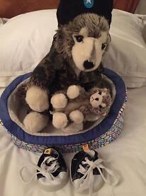 Build A Bear Wolf &a Cub with clothes & bed
