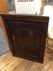 VINTAGE ANTIQUE RUSTIC PRETTY DARK OAK INLAY HANGING CORNER CUPBOARD