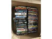 Box of dvd and books