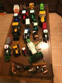 Farmyard set includes tractors trailers combines and animals