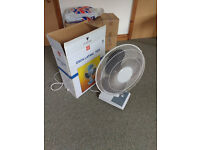Need a fan for those hot summer days? Unused oscillating multi-speed electric fan.