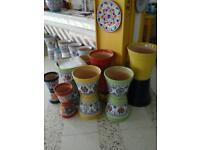 Handmade and painted garden pots in bulk