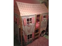 Girls cabin bed with cottage tent and mattress