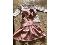 Cord pinafore and tshirt 6-9month