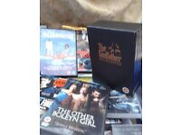 Over 300 Original top quality dvds.. Godfather box set ,The Business, etc, 30 pence each job lot