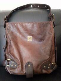 Large Ladies Kangol Shoulder Bag Brown Leather Designer Highstreet