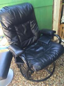 Black swivel recliner comfy chair