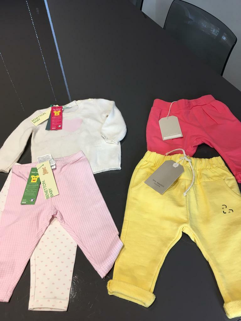 3 6 months new clothes bundlein Ruddington, NottinghamshireGumtree - 2 new with tags bottoms from Zara 1 yellow, 1 pinkNew with tags baby Benetton jumper and 2 pack leggings All in excellent condition from a clean smoke and pet free home
