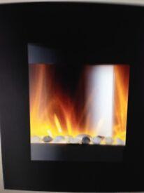 Corner Wall mounted fireplace.