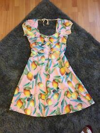 Lindy Bop Lemon Patterned Swing Dress Size 14