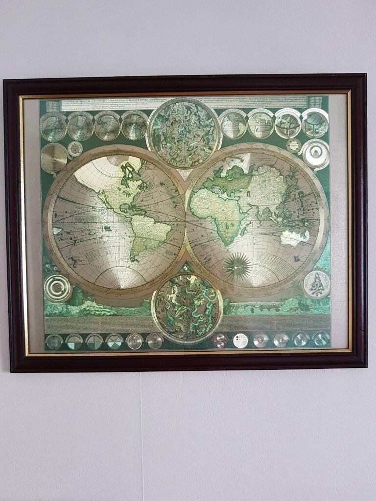 Gold Foil World Map Framed.World Map Framed Picture Gold Green Foil Astrology Stars Latin Zones