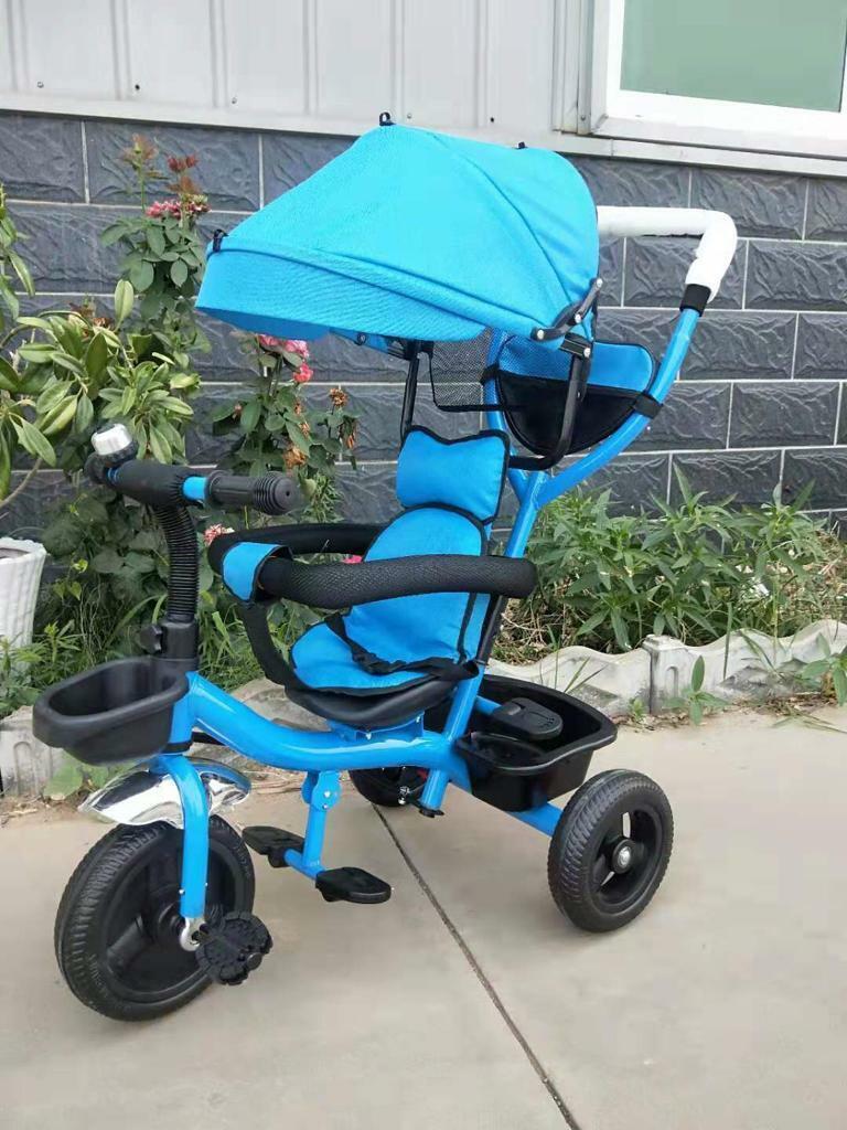 4 in 1 Dreirad Kinderwagen Tricycle für Kinder  Blau