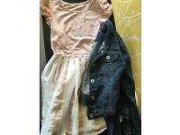Girls age 9 next dress with Debenhams age 9 denim jacket