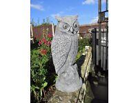 concrete stone owl garden statue