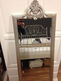 Bedroom Mirror. Wall mounted silver vintage style , approx 125 cm by 85 cm. Excellent condition.