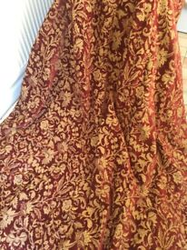 Pair of quality heavyweight interlined curtains.