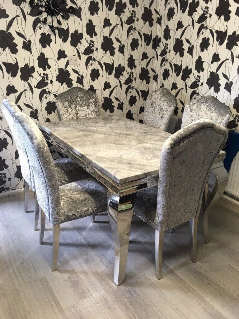 Cool Louis Grey Marble Dining Table And 6 Crushed Velvet Silver Chairs In Skelmersdale Lancashire Gumtree Spiritservingveterans Wood Chair Design Ideas Spiritservingveteransorg