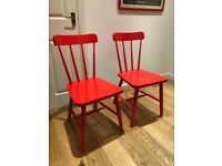 2 Red Ikea Chairs - Olle