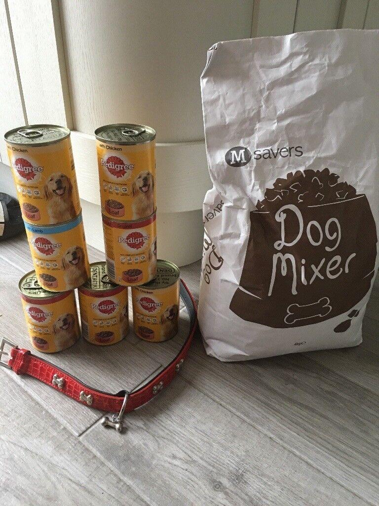 Dog food & a collar.