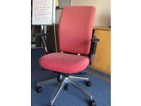 12- TASK CHAIRS IN PINK - FOOD CONDITION - HT ADJ ARMS ETC - CHROME BASE