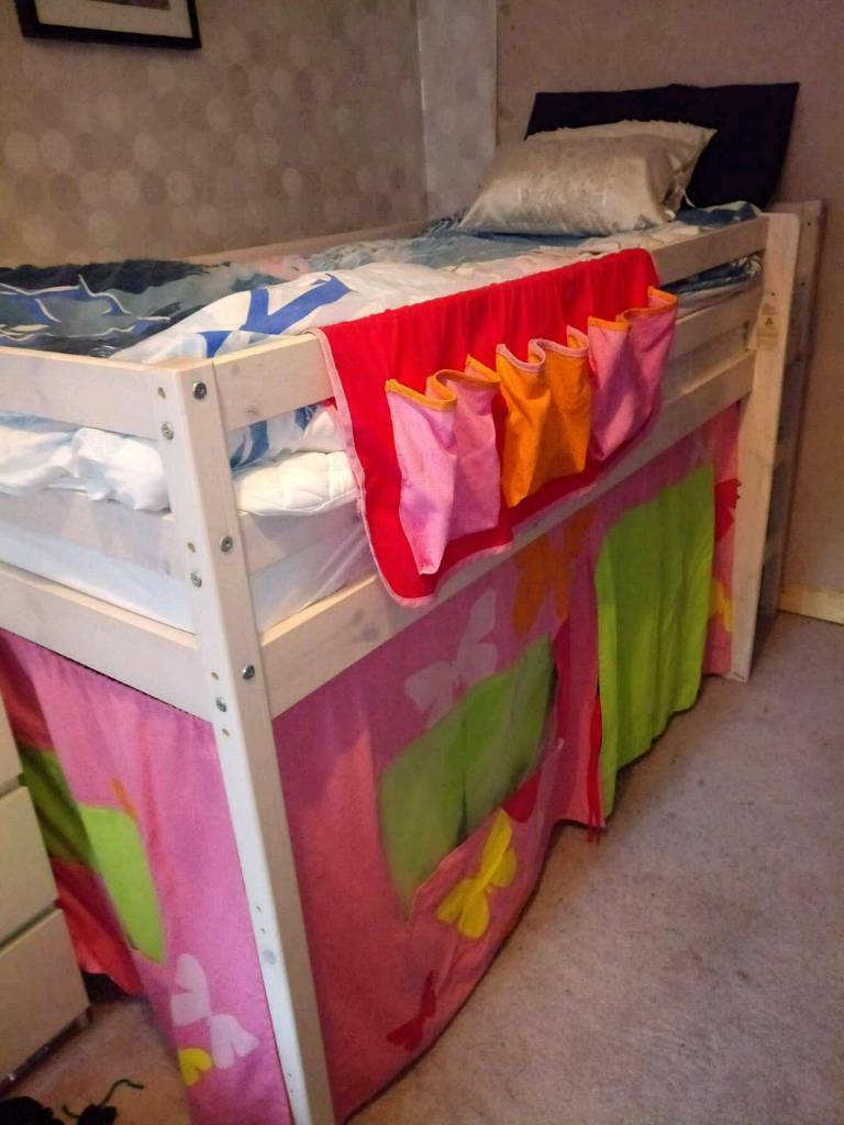 Mid_sleeper kids bed with curtains etc