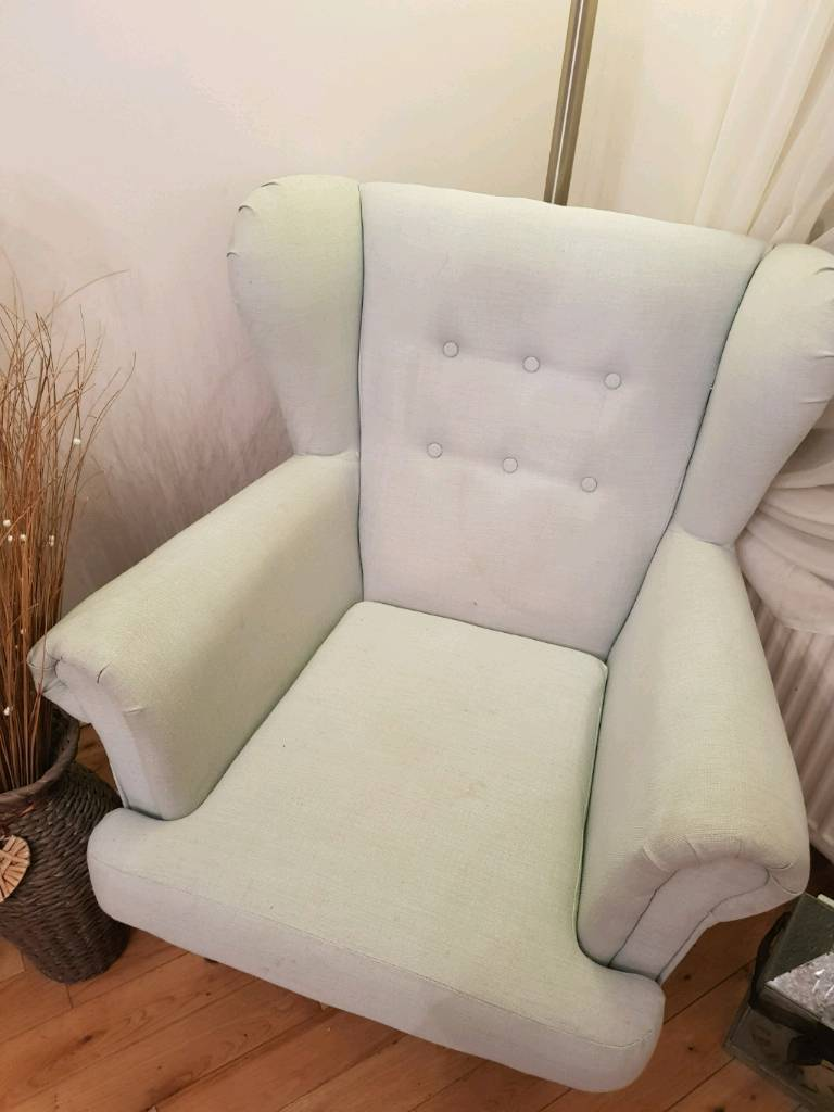 Duck egg blue Wing back chair
