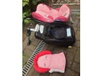 Maxi Cosi stage 0 car seat, isofix easy fix base and covers and newborn insert