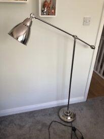 Industrial Floor Reading Lamp - Silver