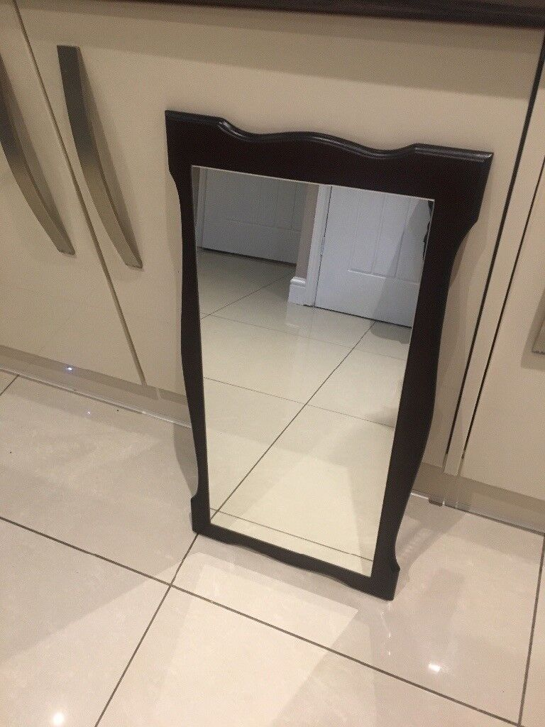 Wooden Back Wall Mirror Old Fashioned Style 30 X 15 5 Can Deliver Locally