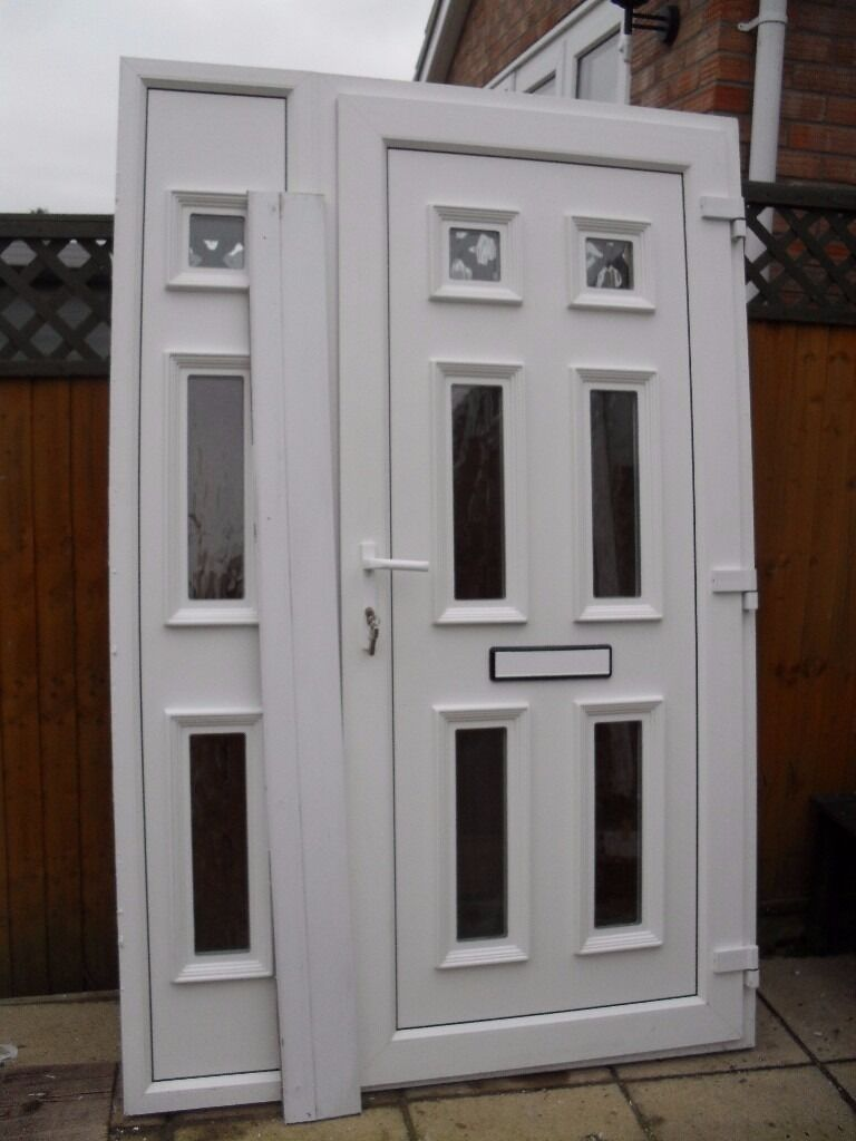 White Upvc Double Glazed Front Door And Side Panel In