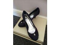 Navy satin bridesmaid shoes size 5