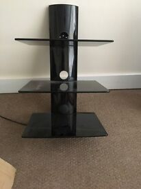 3 tier black glass TV floating shelf unit