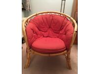 small cane sofa and armchair