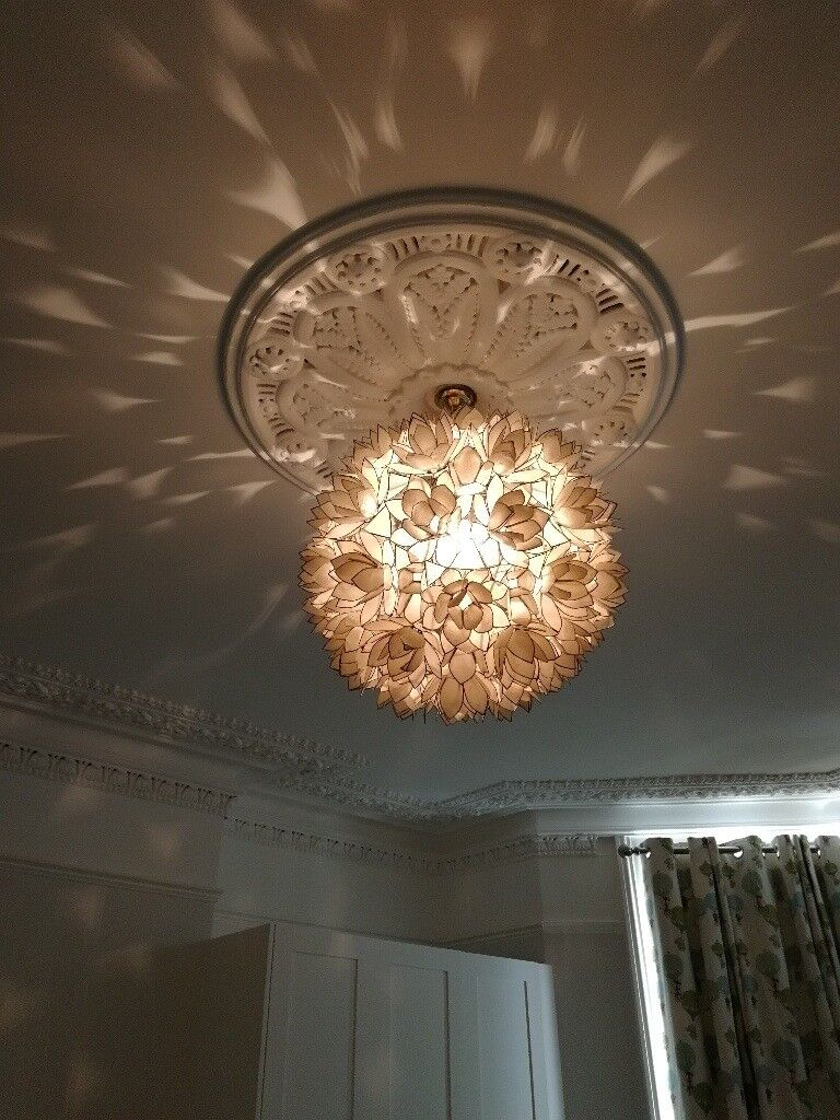 Beautiful Lotus Flower Chandelier 21 Diameter Created From Hand Cut Capiz S