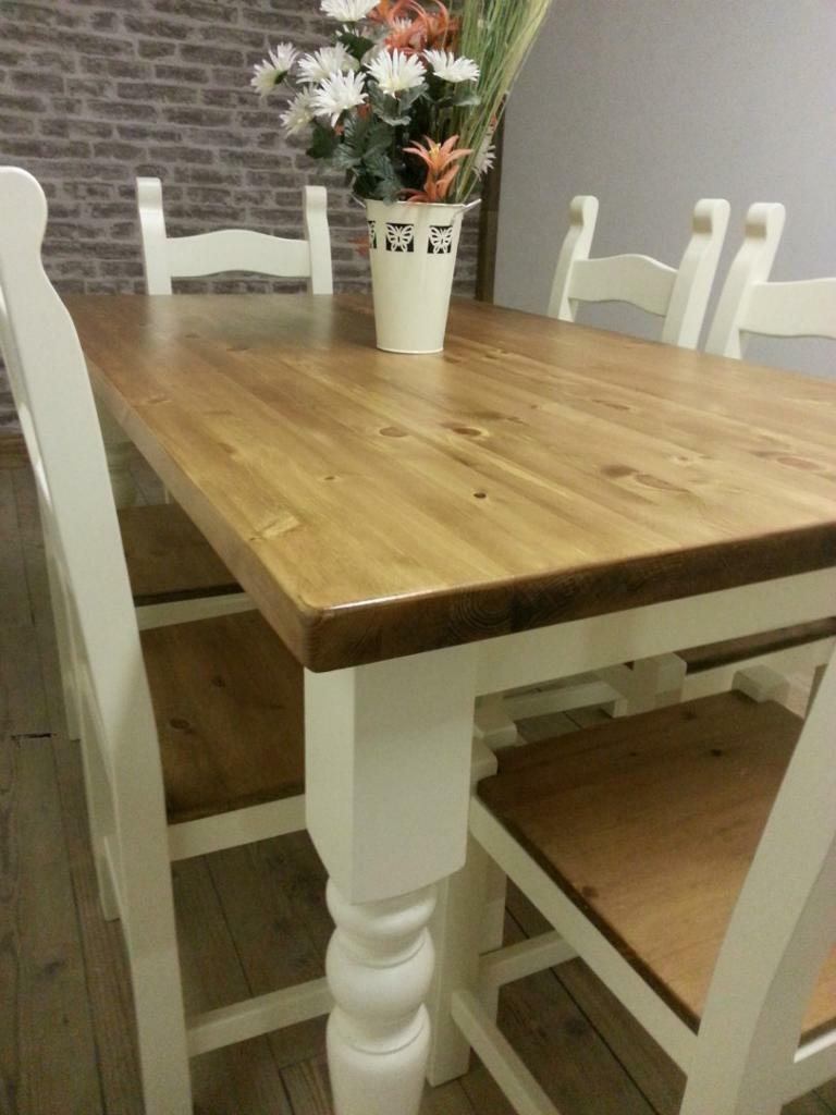 Shabby Chic Solid Pine Farmhouse Dining Table chairs and bench country styl
