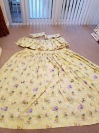 Winnie the pooh lined curtains with pelmet and tie backs babies nursery