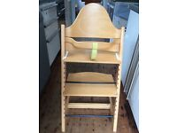 Stokke wooden high chair with baby set, used, light beech