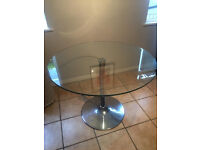 John Lewis 4-Seater Round Glass Top Dining Table Only For Sale Good Condition